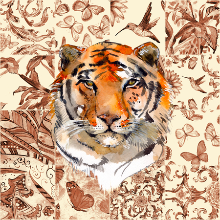 monochrome sepia seamless texture with fashion patchwork pattern and a tiger. watercolor painting