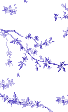 stilish: stilish vertical banner with almond blossom flowering twig. watercolor painting Stock Photo