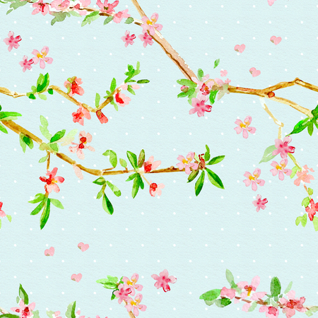 romantic seamless texture with almond blossom flowering twig. watercolor painting