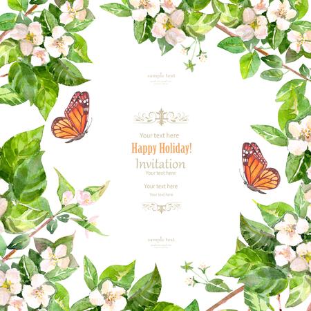 사과 꽃과 빈티지 초대 카드입니다. 수채화 물감 스톡 콘텐츠