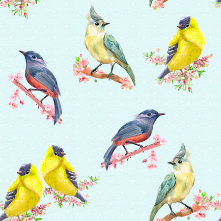seamless texture with collection of pretty bird on flowering branches. watercolor painting