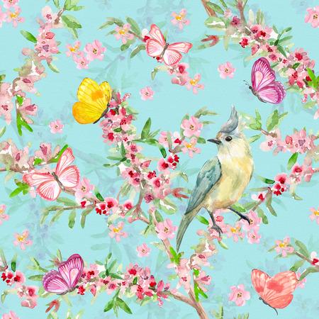 Elegante textura sin fisuras con el pájaro bonito en la rama de floración. pintura de acuarela Foto de archivo - 80426839
