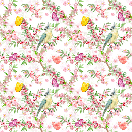 cute seamless texture with birds on flowering branches. watercolor painting