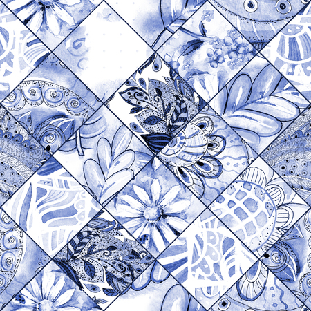 rhomb: monochrome seamless texture with blue floral patchwork pattern. watercolor painting
