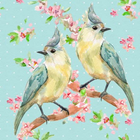 cute seamless texture with lovely birds on flowering twigs. watercolor painting