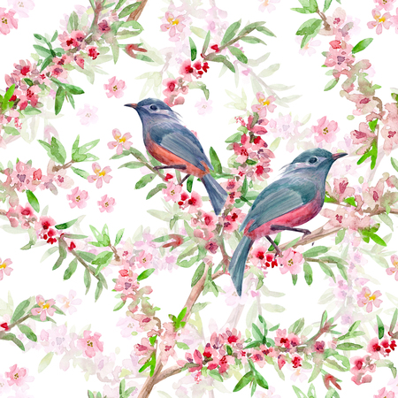 japanese garden: romantic flower seamless texture with cute birds. watercolor painting Stock Photo