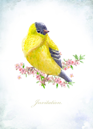 tree isolated: vintage greeting card with a yellow bird on flowering branches. watercolor painting