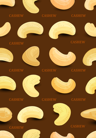 A seamless texture with cashews on dark background for your design. Illustration