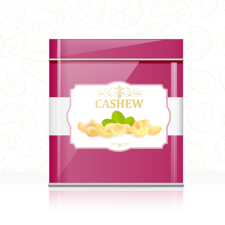nutty: A retro metallic box with cashews for your design.