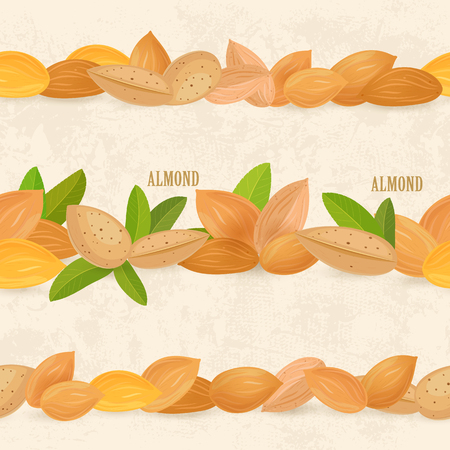 A collection of seamless borders with almonds on vintage background.