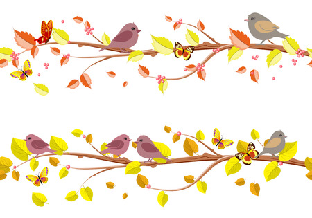 a bough: Autumn floral set seamless borders with cute birds for your design.