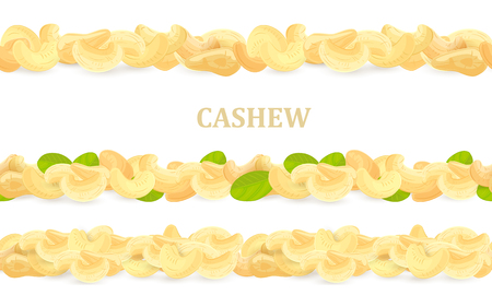 Horizontal collection of seamless borders with cashews and leaves for your design.