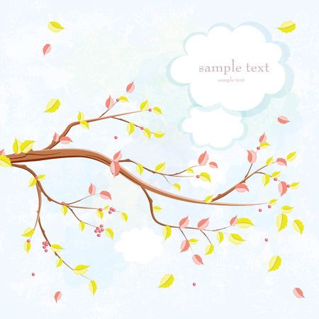 An invitation card with graceful autumn branch of tree. Illustration