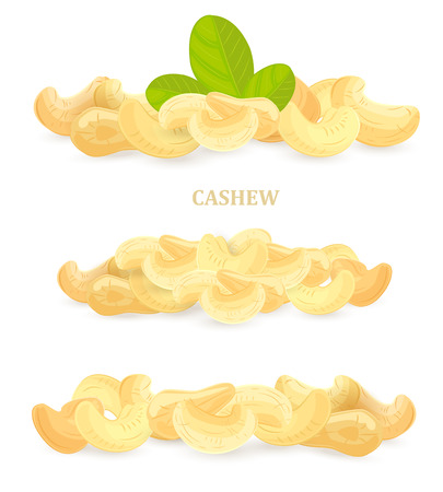 collection of banners with cashews for your design Illustration