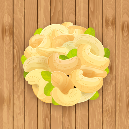 background with pile of Cashews on wooden texture your design Illustration