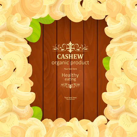 heap: banner with frame of tasty Cashew on wooden background your design