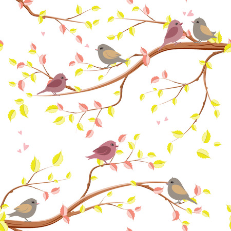 lovely seamless texture with elegante branches of tree and birds