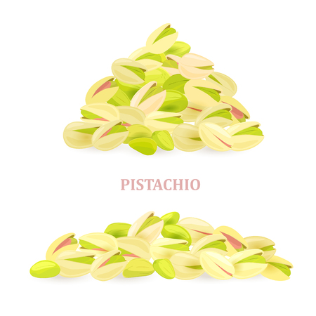 collection of banners with pile of pistachios for your design