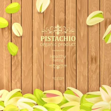 vintage poster with delicious pistachios on wooden background for your design Illustration