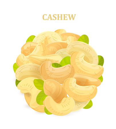 banner with cashews and leaves for your design