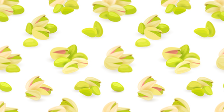 pistachios: horizontal seamless texture with groups of pistachios for your design