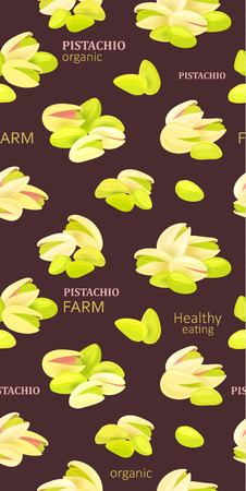 fashion seamless texture with group of pistachios for your design Illustration
