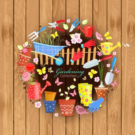 Banner met kleurrijke tuinwerktuigen en apparatuur op houten achtergrond voor uw ontwerp Stock Illustratie