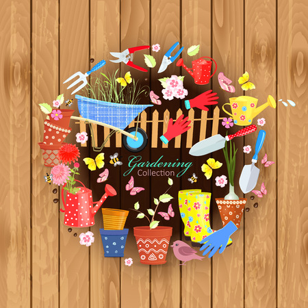 Banner with colorful gardening tools and equipment on wooden background for your design Çizim