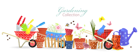 Banner with border of colorful gardening tools for your design Illustration