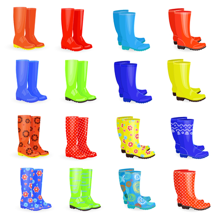 rainy season: Lovely collection of gum boots  with different colors and patterns