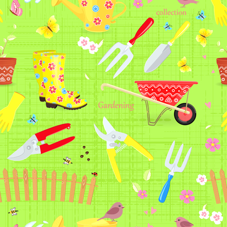 Colorful seamless texture with collection of gardening tools and equipments.