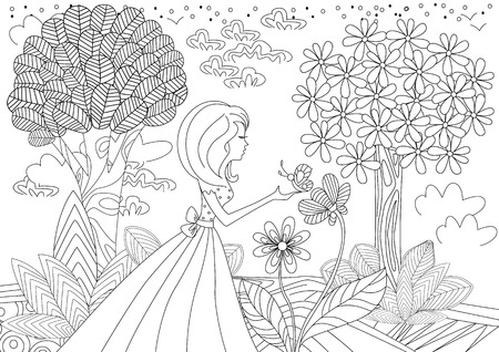 Mooi meisje met vlinder. kleurboek pagina. Stock Illustratie