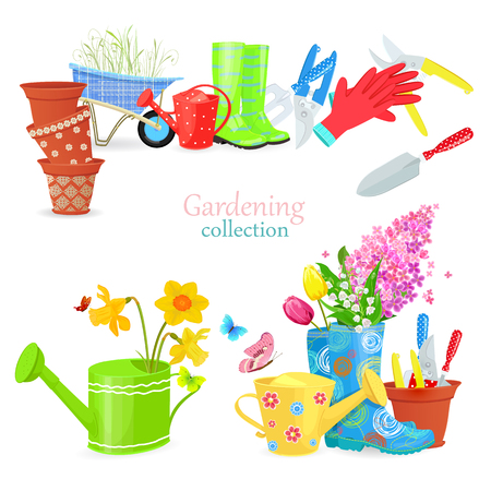 Lovely natural collection of spring composition and gardening equipments for your design