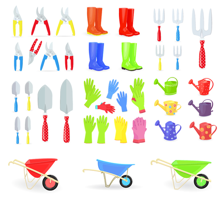 Big collection of gardening tools and equipments for your design Illustration
