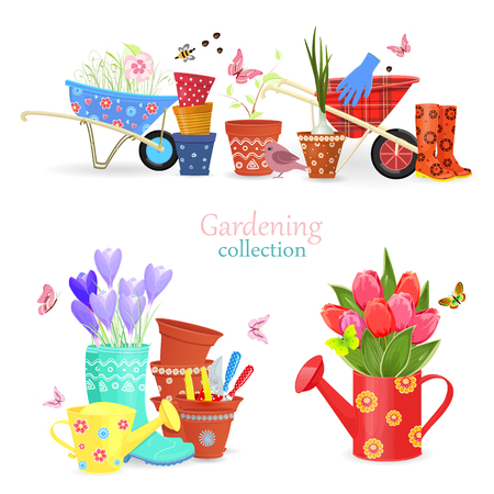 Cozy collection of spring bouquets and gardening equipments for your design