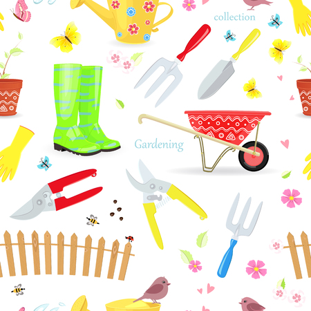 seamless texture with collection of gardening tools and equipments