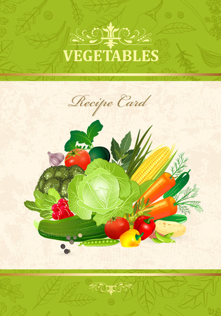 design card with fresh vegetables for your design