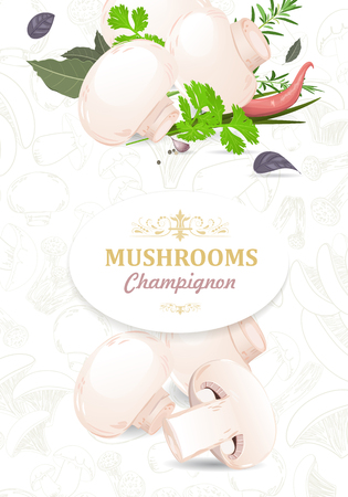 champignon: vertical banner with champignons and herbs for your design
