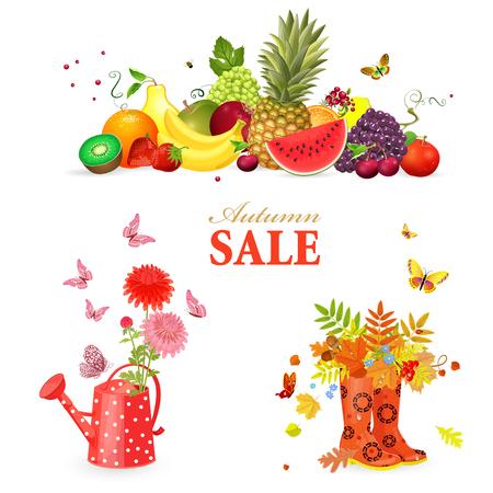 collezione colorata di composizione autunnale e attrezzature da giardinaggio per il vostro disegno