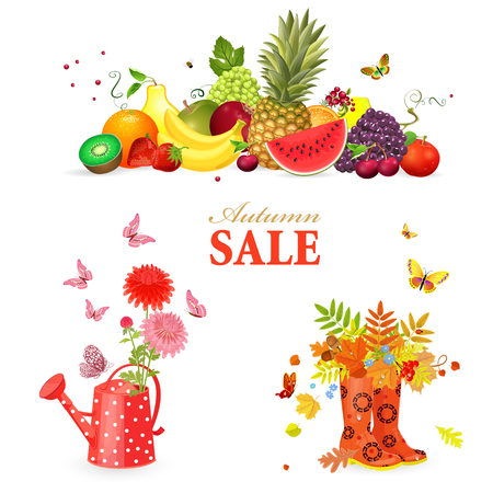 colorful collection of autumn composition and gardening equipments for your design Stock Illustratie