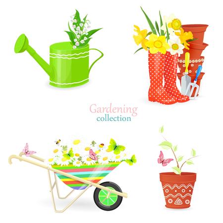 frische Kollektion von Frühlingssträußen und Gartengeräten für Ihr Design