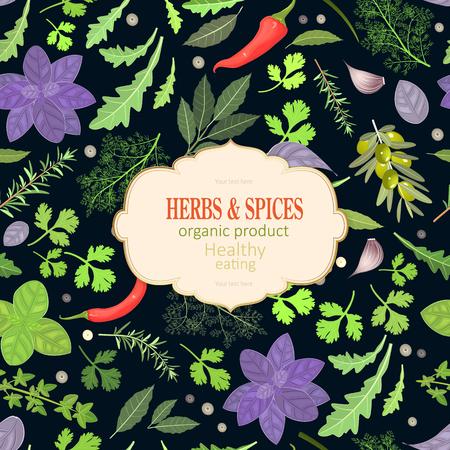 scheda vintage con erbe fresche e spezie per il tuo design