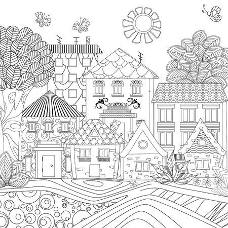 Fantasy Landscape With Butterflies For Coloring Book Royalty Free