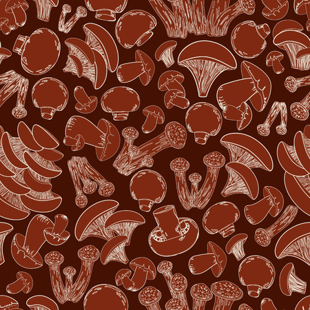 cep: vintage seamless texture with sketch edible mushrooms for your design Illustration