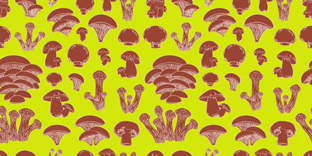 cep: retro seamless texture with sketch mushrooms for your design Illustration