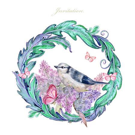 sierlijk bloemenvignet met schattige vogel en vlinders. aquarel schilderij Stockfoto