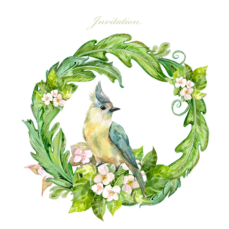 graceful floral vignette with pretty bird. watercolor painting