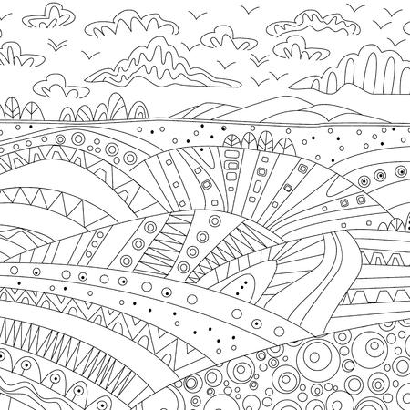 Paisaje De Montaña Para Colorear Libro. Ilustraciones Vectoriales ...