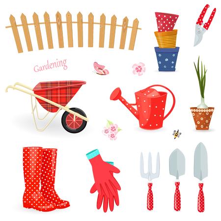Kolekcja kolorowych narzędzi ogrodniczych.
