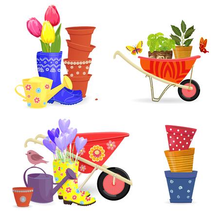 Kleurrijke collectie voorjaarsboeketten en tuingereedschap voor uw ontwerp